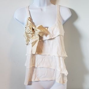 Velvet Sleeveless Tiered White Bow Top Small